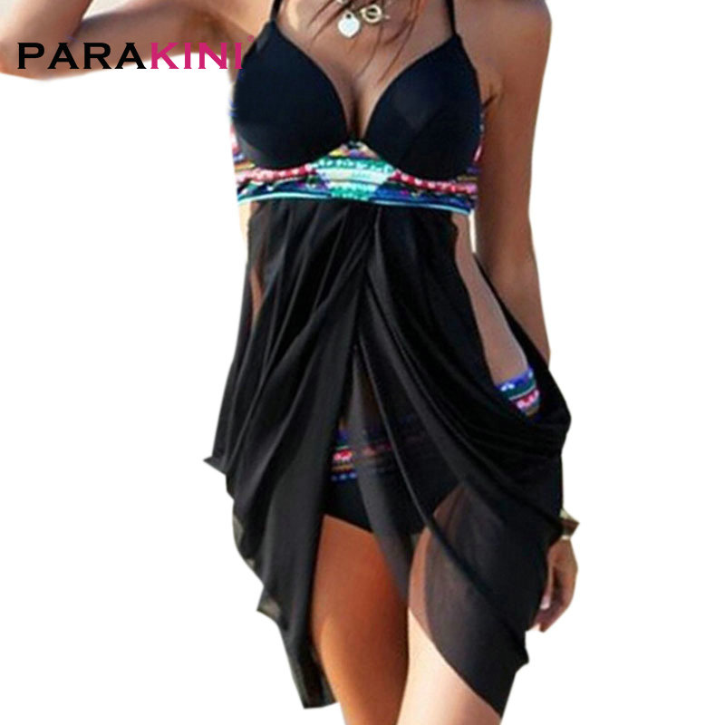 PARAKINI 2018 New Sexy 2 Pieces Swimwear Women Push Up Swimsuit Dress Halter Bra Bathing Suits Retro Beach Swim Wear Bikinis Set one piece swimsuit cheap sexy bathing suits may beach girls plus size swimwear 2017 new korean shiny lace halter badpakken