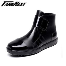 Rain Boots Men Hook & Loop Summer Winter Waterproof Shoes Black Blue High Quality Solid Fashion Simple Men Shoes XMX491