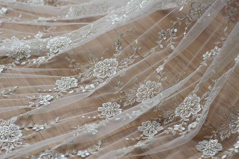 Ivory Alencon Lace Fabric Floral Pearl Beaded Sequined Wedding Lace Fabric With Luxury Gold Thread 53 Inches Wide 1 Yard