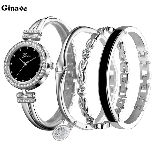 2018 New Fashion Elegant Women Watches Silver Crystal Bracelet 4pcs Set Luxury G
