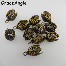 (8 Pièces) Vintage Top Bronze Tone Brass Fleur Caps Spacers Perle Collier Pendentif Bracelet Charmes 17*11mm Bijoux Conclusions 05745(China)