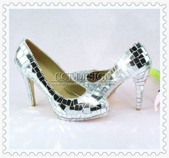 цены  Sexy Ladies Crazy Glitter Mirror High Heels Mirror Pumps Party Prom Evening Shoes With Silver Mirror Pieces Free Shipping