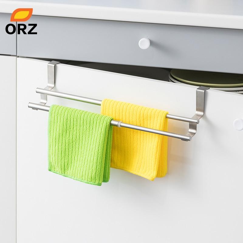 ORZ Kitchen Towel Holder Expandable Bathroom Bar Stainless Steel Storage Hanger Rack Door Hook Shelf Organizer