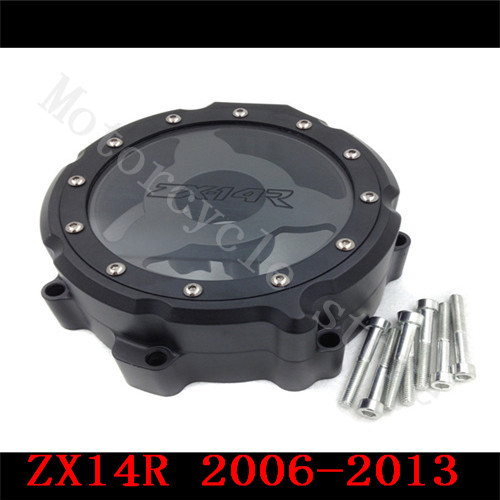 For Kawasaki ZX14R ZX-14R ZZR1400 2006 2007 2008 2009 2010 2011-2014 Motorcycle Engine Stator cover see through Black Left side aftermarket free shipping motorcycle part engine stator cover for suzuki gsxr600 750 2006 2007 2008 2009 2013 black left side