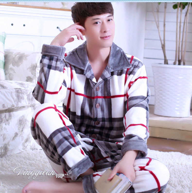 Male Fleece Pajamas Men's Thickening Warm Flannel Long Sleeves Homewear Adult Winter Coral Velvet Nightwear Plus Size D-2073