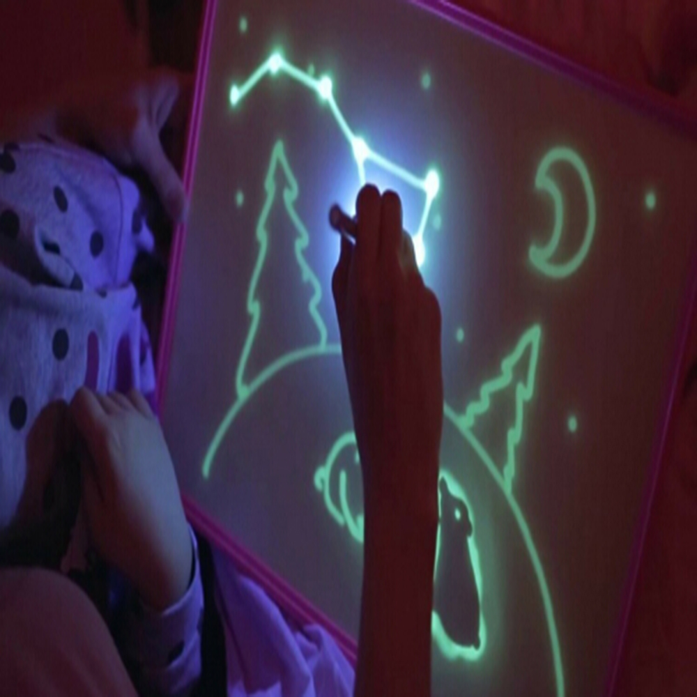 Magic A4 Night Light Funny Drawing Board Set 2 UV Pen 2 Graphics Card Educational Toys Birthday Gift Writing Paint Toy In Box