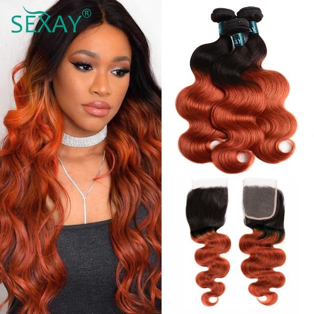 Sexay Ombre גוף גל שיער חבילות עם סגירת תחרה 1B/350 שני טון זהב בלונד לא מעובד ברזילאי גוף גל שיער טבעי