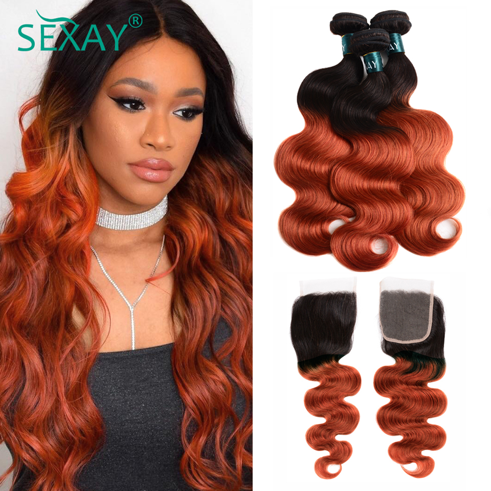 Sexay Ombre Body Wave Hair Bundles With Lace Closure 1B/350 Two Tone Golden Blonde Unprocessed Brazilian Body Wave Human Hair