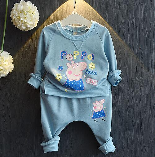 2016 new fall and spring baby girl cartoon pattern wild leisure sports suit two piece suit clothes sets for 2-7year old girls