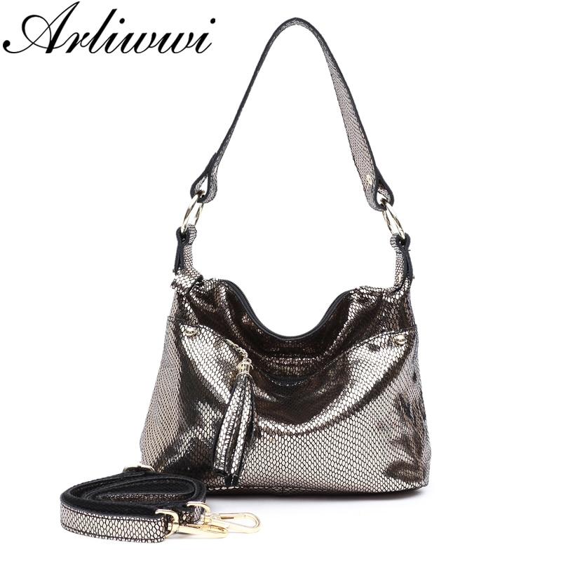 Arliwwi Brand Designer REAL LEATHER Shiny Snakeskin Pattern Embossed Shoulder Handbags Summer Functional Women Metallic Bags