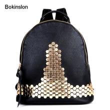 Bokinslon Для женщин двойной плечо рюкзак мода из искусственной кожи Для женщин рюкзак бренд популярным студент Рюкзаки