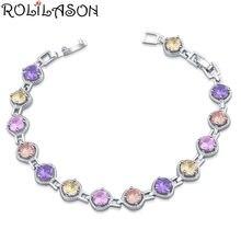 Rolilason классический Цвет Кристалл 925 серебряный браслет