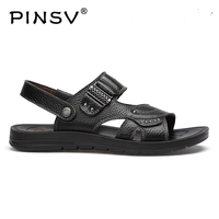 PINSV Men S 100 Genuine Leather New Famous Brand Casual Men Sandals Slippers Summer Shoes Beach