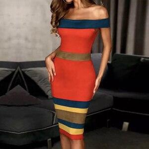 Image 2 - Adyce nouveau été Bandage robe femmes Vestidos 2020 Sexy Slash cou court sans manches hors épaule célébrité robes de soirée
