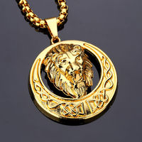 Lion Head Pendant Necklace Hip Hop Fashion Jewelry Alloy Round Shape Metal Lion King Personality For