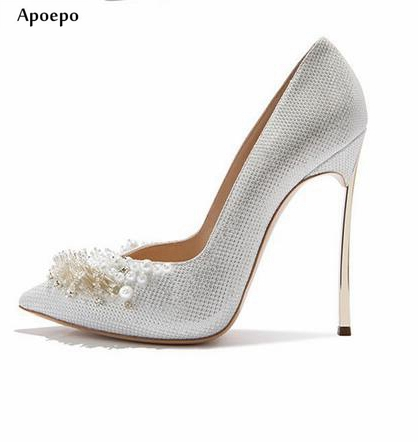 Apoepo Hot Selling Handmade Crystal Embellished Wedding Shoes 2018 Pointed Toe Woman Pumps Sexy Thin Heels Dress Shoes hot selling crystal embellished wedding heels sexy peep toe platform pumps woman high heel shoes