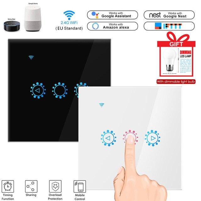 חכם אלחוטי מתג מגע שליטת Dimmable פנל מתג תואם עם אמזון Alexa גוגל עוזר עמעום הנורה במתנה