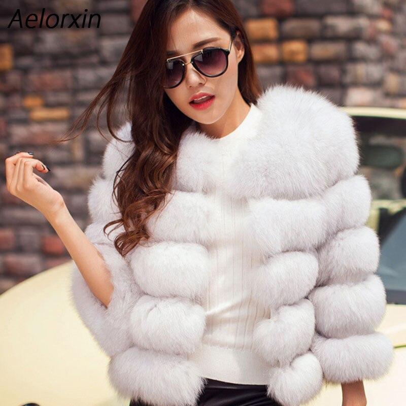 Aelorxin 2017 Women Faux Fur Coat Jacket Winter Spring Fashion Elegant Female Fur Coat High Imitation Sweet Girl Fur Coat