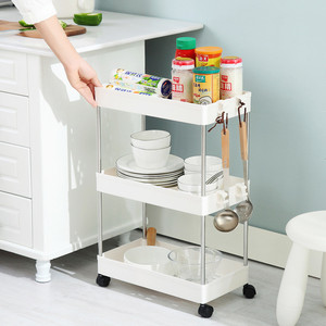 Image 5 - 2/3/4 Layer Gap Storage Rack Kitchen Slim Slide Tower Movable Assemble Plastic Bathroom Shelf Wheels Space Saving Organizer