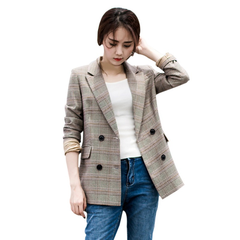 Lady Notched Button Casual Blazers Woman Plaid Print Full Sleeve Office Women Blazers Button Decor