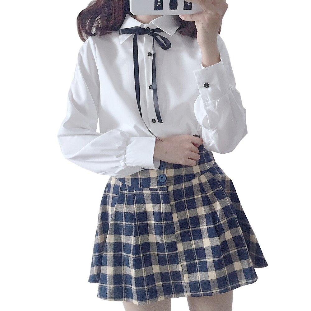Korean school uniform women's   shirt   female   blouse   student long sleeve autumn preppy style lapel collar sailor   blouses   button top
