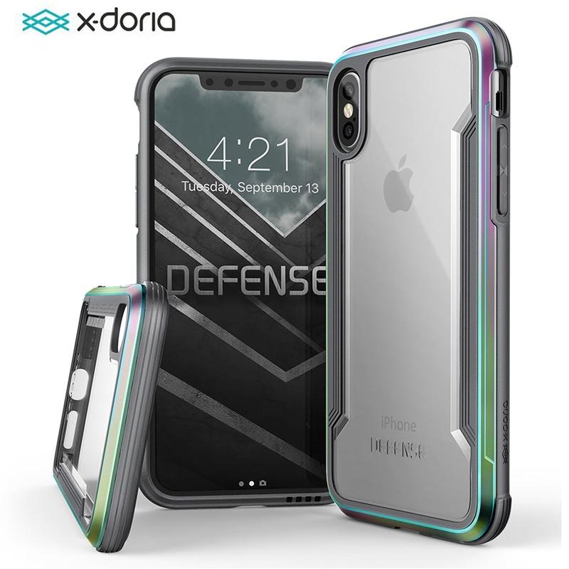 X-Doria Difesa Scudo Cassa Del Telefono Per il iphone XS X Grado Militare Goccia Testato Caso Coque Per iPhone X coperchio in alluminio di Protezione