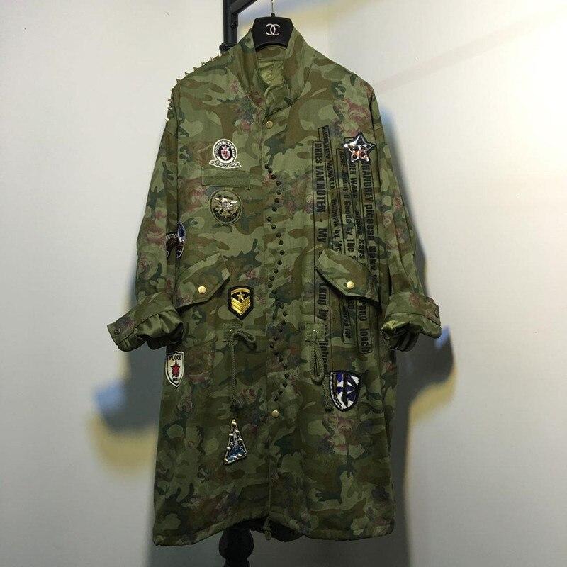Army Green Women 2016 autumn Winter rivet camouflage flowers printed long windbreaker jacket dress YQ26