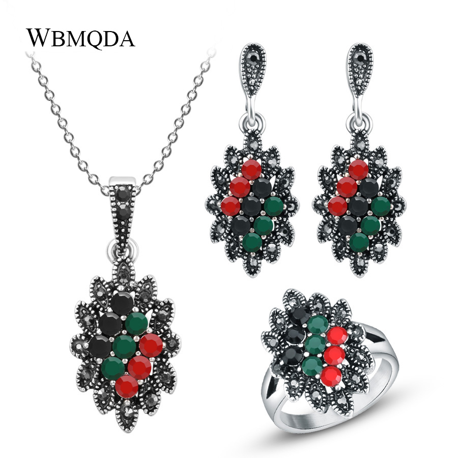 3 Pcs/lot Boho Vintage Trendy Silver Color Colorful Resin Beads Rhinestone Crystal Wedding Jewelry Sets For Women Free Shipping