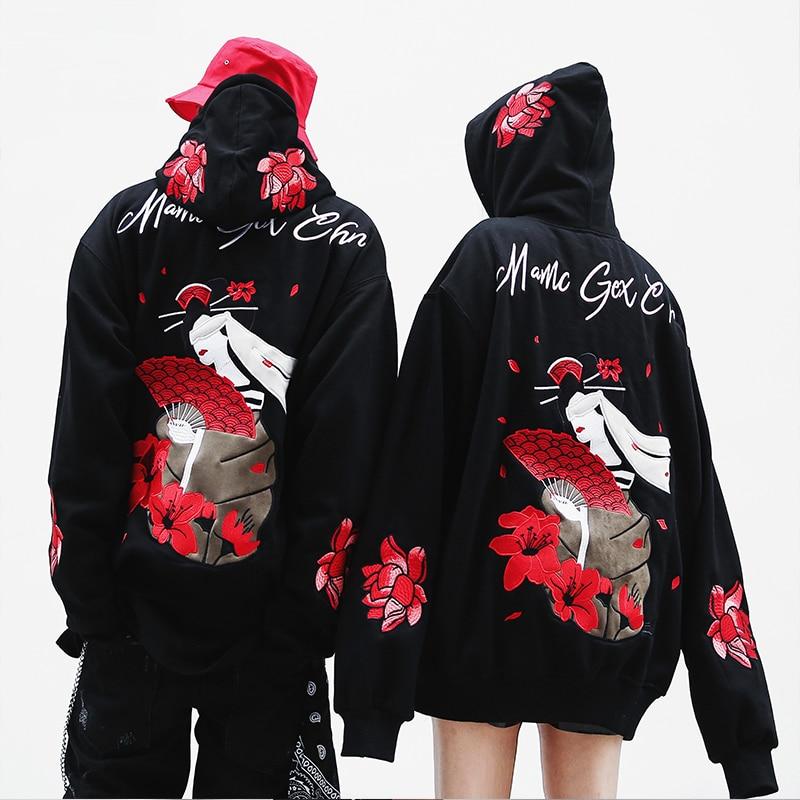 Street Style Embroidery Japanese Hoodies Men Streetwear Hip Hop Hooded Male Sweatshirts Oversized Women Tracksuit Cool Hoddies