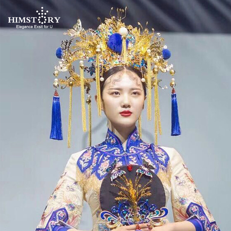 HIMSTORY Exaggerated Handmade Peacock Headdress Phoenix Coronet Stage Show Chinese Vintage Style Blue Tassel Hair Accessories
