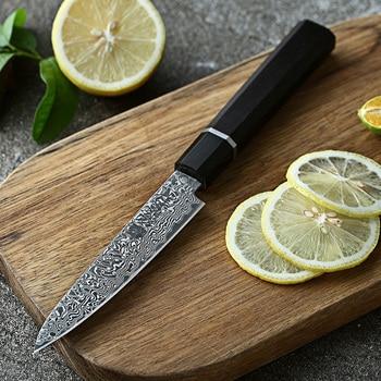 """XINZUO Brand 5"""" Damascus Paring Knife Japanese Damascus Steel VG-10 Knife Ebony Handle New Arrived Peeling Fruit Kitchen Knife"""