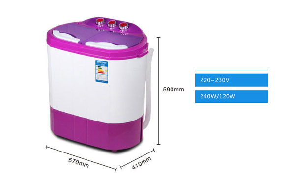 Mini Washing Machine Small Semi-automatic Household Double-cylinder Double-barrel Baby Baby Kids Wave Tyre Dryer  2.2KG