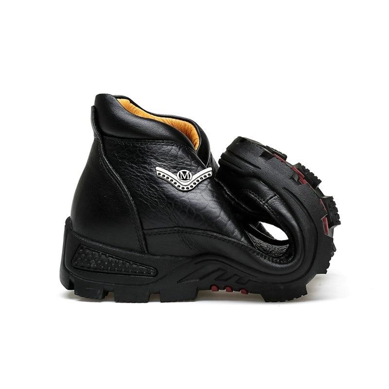 Dos Neve Genuíno Do De Boot brown Masculinos Homens Negócios Bota Boots Black Quente Pelúcia Inverno Trabalho Couro Sapatos Lace Ankle Up Peles Boot Walkerpeak Da qPwEBxBXYv