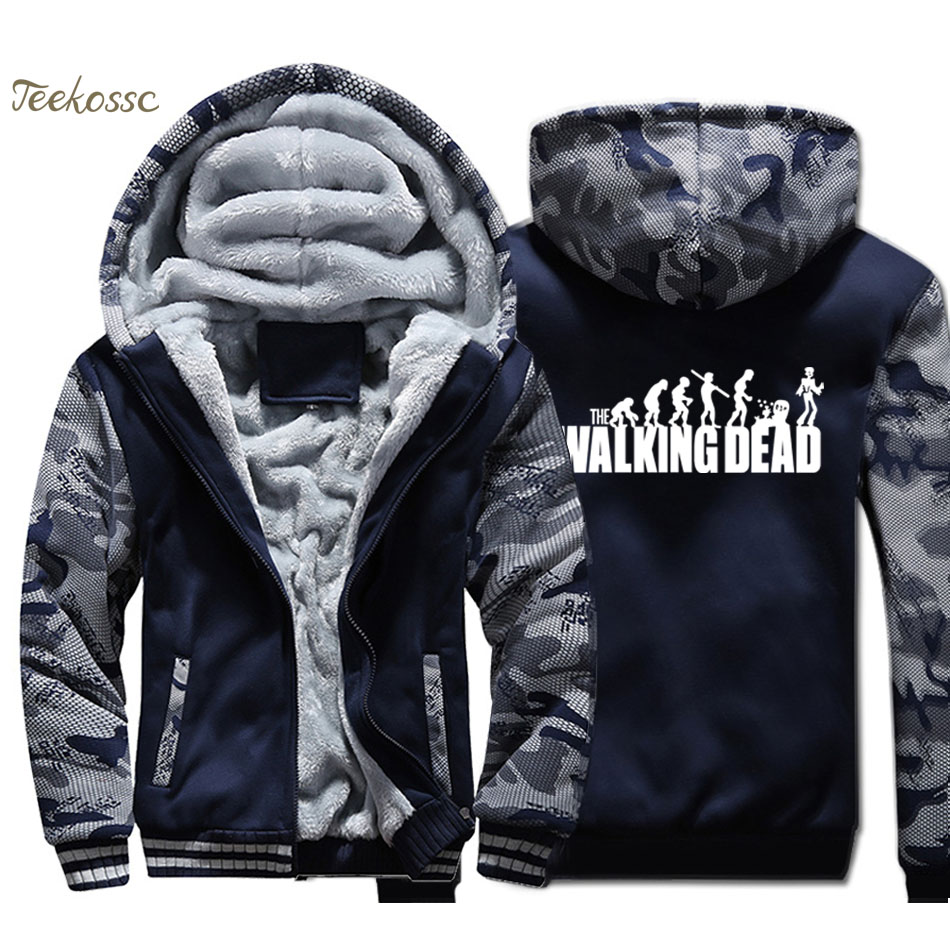 The Walking Dead Hoodie Men Evolution Funny Hooded Sweatshirt Coat Winter Thick Fleece Warm Zip Up Jacket Hip Hop Streetwear 4XL
