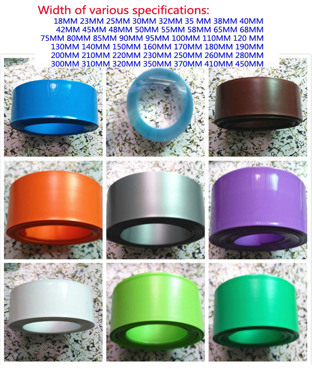 Купить с кэшбэком 18650 lithium battery packaging PVC thermal shrinkable casing package film shrinkable film insulating sleeve 18MM~450MM