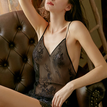 Summer Sexy Lace Ladies Nightdress V neck Perspective Mesh Mini Skirt Black Nightgown Open Back Lingerie Sleepdress For Women
