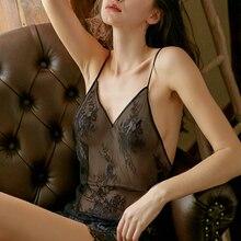 Été Sexy dentelle dames chemise de nuit col en v Perspective maille Mini jupe noir chemise de nuit dos ouvert Lingerie robe de nuit pour les femmes