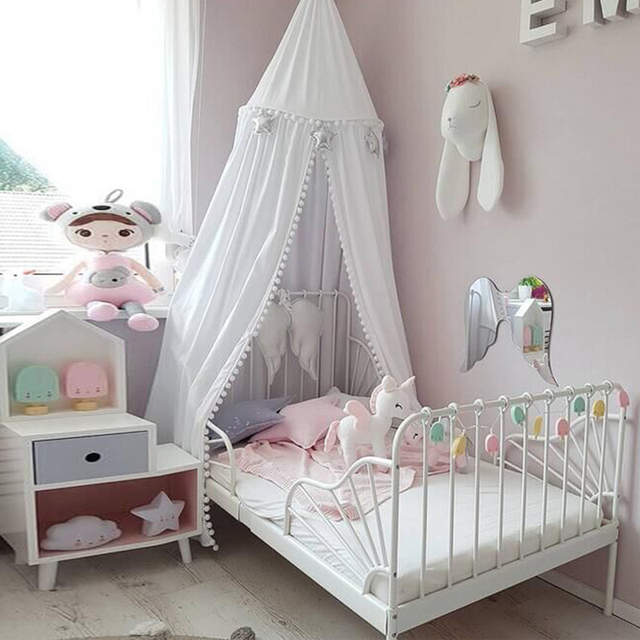 US $37.99 |2018 ins canopy baby bed curtain kids Mosquito Net children  Cotton Crib Netting baby bedroom decoration A81-in Crib Netting from Mother  & ...