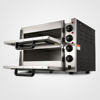 Equipped With Baking Stone 3000 W Pizza Baking Oven Stainless Steel Double Deck