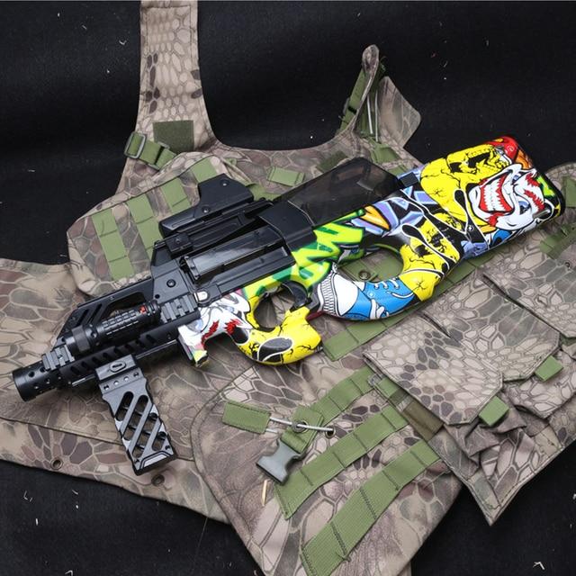 Cool Stuff P90 Electric Auto Toy Gun Graffiti Edition Live CS Assault Snipe Weapon Water Bullet Bursts Gun Funny Outdoor Pistol Toys 5