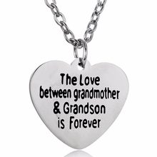 Stainless Steel Family Necklaces Love Between Grandmother&Grandson Is Forever Heart Pendant Necklace Jewelry Grandma Nana Gifts(China)