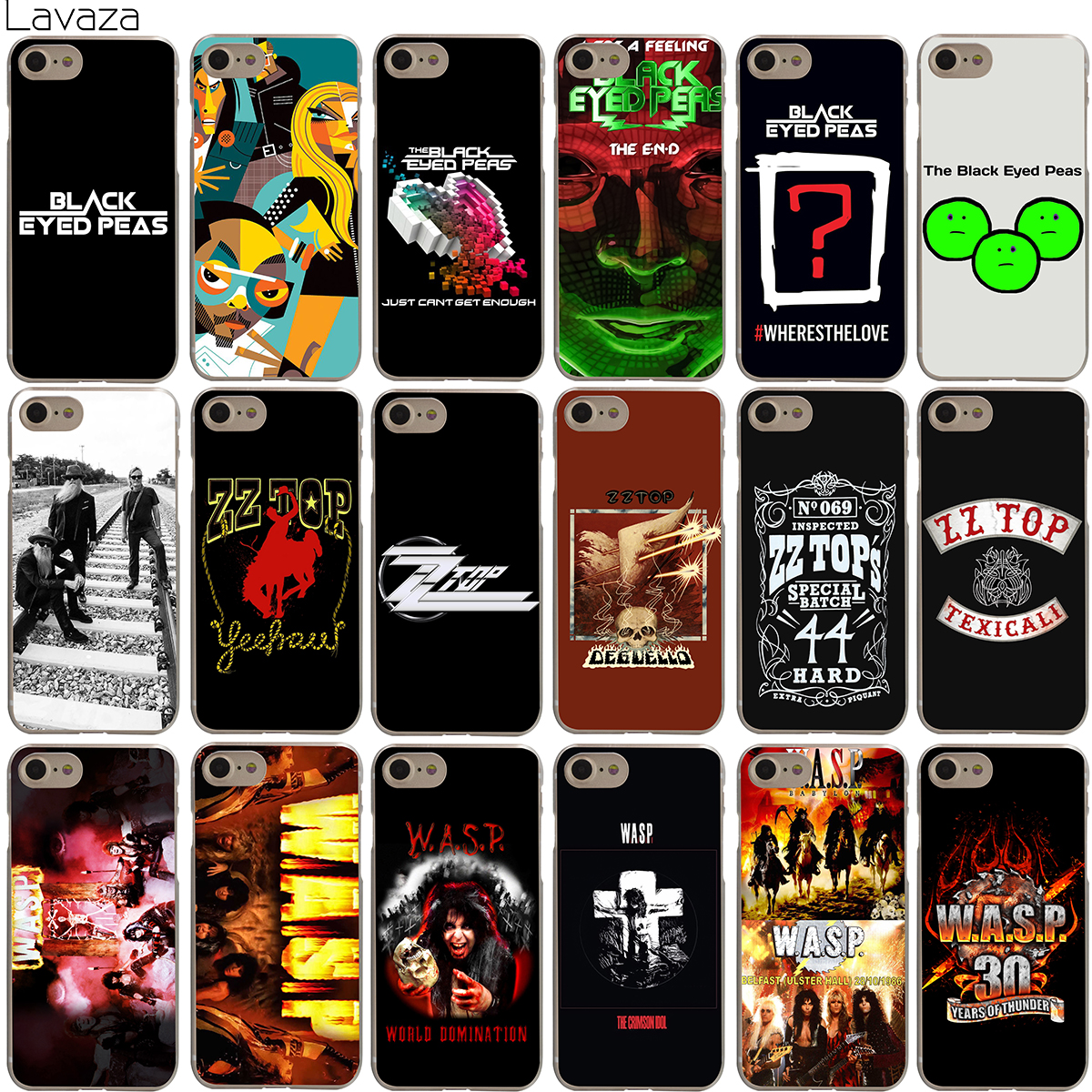 Lavaza The Black Eyed Peas ZZ Top W.A.S.P Band Case for iPhone 4 4S 5 5S SE 6 6S 7 8 X Plus