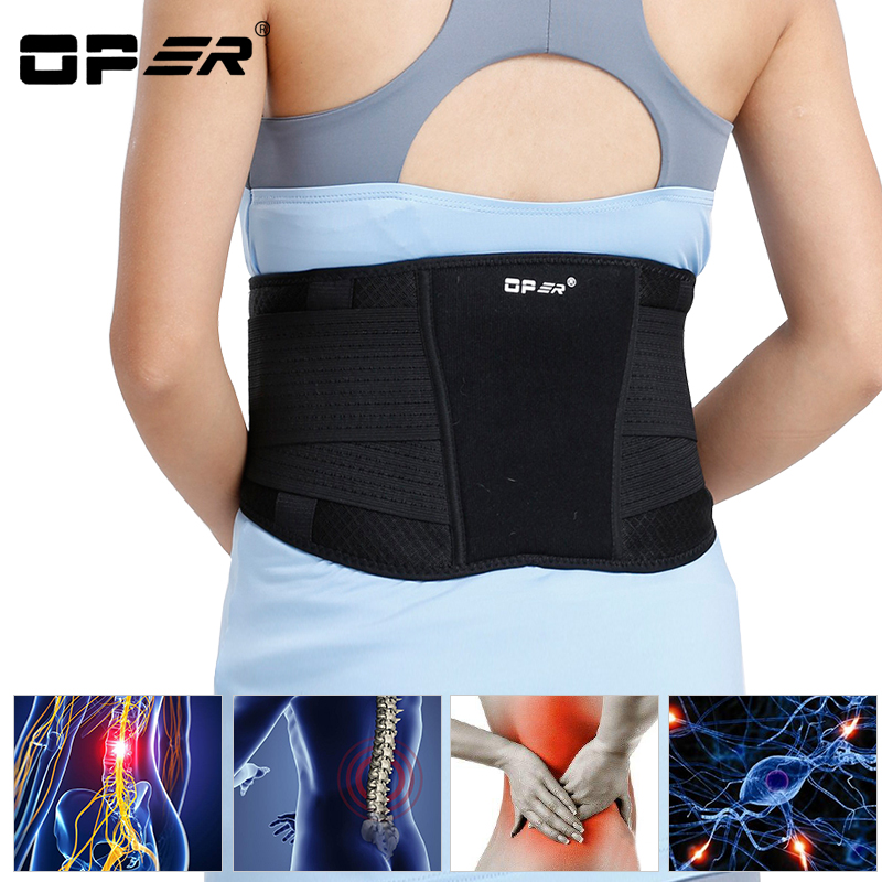 OPER Waist Support Belt Adjustable Lumbar Brace Spine Back Posture Corrector Magnets Protect Slimming Corset Pain relief 2018 hailicare back relief belt waist brace support belt lumbar traction backach waist brace pain release health massager health care