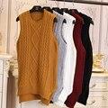 Женский средней длины пуловеры жилет сплошной цвет витой пряжи жилет жилет без рукавов свитера r6218