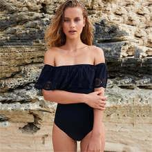 Swimwear Sexy Off The Shoulder Solid Swimwear Women One Piece Swimsuit Female Bathing Suit Ruffle Monokini Swim Wear XL