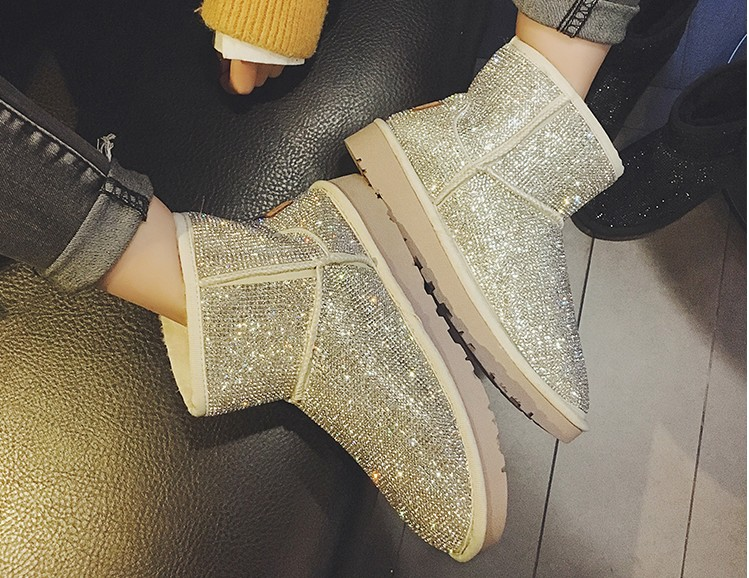 Women Shoes, Snowy Boots, Women's Short Boots, Diamond Shiny Sequins, Thick Wool Warm Cotton Boots