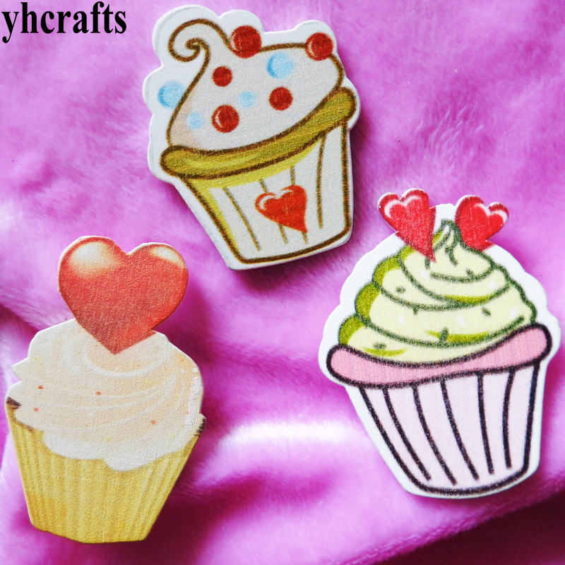 10PCS/LOT,cake icecream wood stickers,Wall Fridge stickers Spring crafts Restaurant decoration Craft material Kids DIY toys OEM