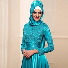 Long Elegant Muslim Sleeve Evening Dresses Lace Applique Moroccan Kaftan Formal Party Gown