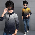 2016 Wholesale Toddler Boys Grey/Yellow Color Winter Thickening Long Sleeve Keep Warm Fashion Pullovers Sweaters