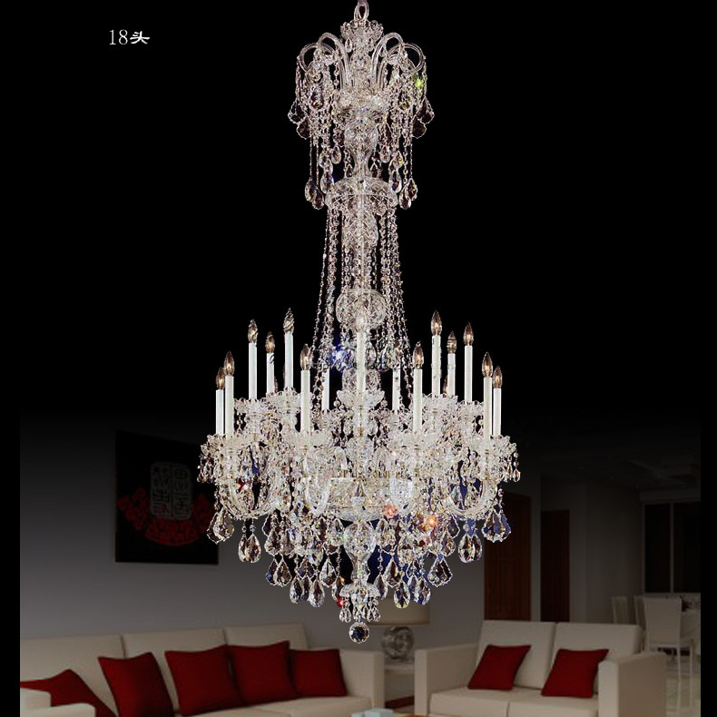 H185cm hotel light fixtures long ceiling chandelier stairwell large led lustre cristal home crystal chandeliers suspension Light